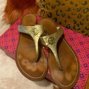 Tory Burch Cameron metallic gold sandal size 7.5